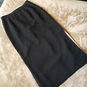 Kasper Petite Long Black Pink Slit Skirt Sz 8P